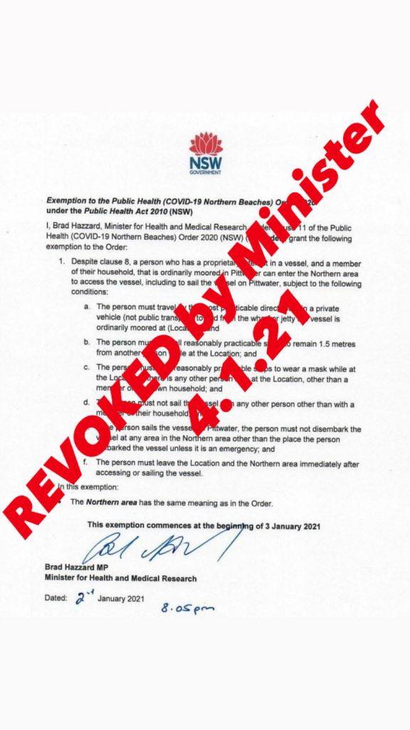 Boating Exemption Revoked 4.1.21